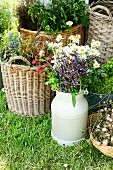 Plants in basket & bouquet in zinc milk churn