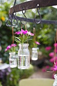 Flowers in glass jars hanging from hooks in a garden