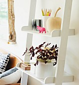 Potted plant and writing utensils on white, ladder-style shelves