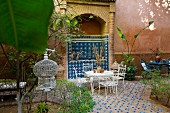 Riad Mounia belonging to the French Marie-Yvonne in the Medina of Marrakesh, Morocco, Courtyard