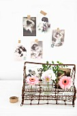 Vintage wire basket decorated with vases of flowers & old family photos
