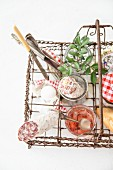 Breakfast items in vintage wire basket