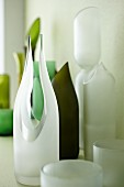 Collection of white and green designer vases