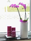 Violette Orchideen in weisser Vase neben Kerzengruppe in Violett auf Fensterbank