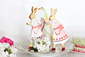Easter arrangement of rabbit & goose figurines