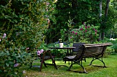 Park bench, table and wooden chairs on lawn in park-style garden with flowering perennials