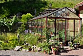 Greenhouse in summery garden with potted plants and small pond