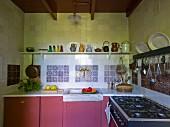 Küchenzeile mit altrosa Unterschränken vor gefliester Wand, oberhalb Kannen auf Ablage