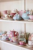 Shelves of vintage-style crockery