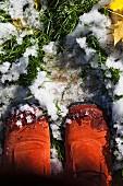 Feet walking on snow