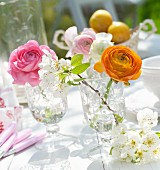 Ranunculus of various colours and white blossom in nostalgic stemware glasses on garden table in sunshine