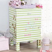Make-over - old bedside cabinet refurbished with striped and stamped motifs