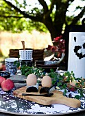 Boiled eggs on breakfast table in garden