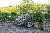 Trailer loaded with stones and geraniums planted in wicker baskets on gravel floor in garden
