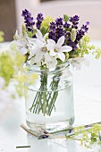 Posy of cut flowers with lavender