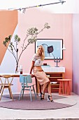 Walls in feminine pastel shades in retro interior