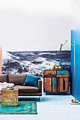 Photo mural of the sea in eclectic maritime interior