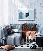 Modern modular seating in the corner of the living room