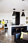 Woman and dog in open-plan fitted kitchen with striking pendant lamps above kitchen counter and retro stools; leather armchair with scatter cushions in foreground