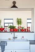 Ausschnitt einer Küchenzeile mit Doppelspüle aus Keramik, oberhalb Durchreiche mit Kännchen und Aufbewahrungsdosen in Rot