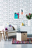 DIY wooden storage stool in retro interior with polka-dot wallpaper