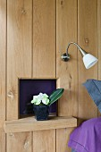 Wood-clad wall with potted plant on wall bracket in front of small niche below sconce lamp