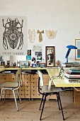 U-shaped desk, wooden filing cabinets on castors and retro chairs