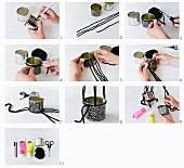 DIY-Anleitung zur Herstellung kleiner Blumenampeln aus bemalten Blechdosen