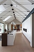 Exposed, modern gable roof structure with tension rods above long interior with designer kitchen