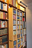 Bookcase with mobile element below strip lamp