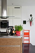 Fitted kitchen with island counter, stainless steel worksurface and orange stepladder leaning against wall