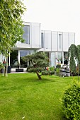 Modern house with well-tended garden and pond