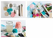 Instructions and materials required for making bowls out of crocheted doilies