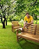 Hand-made wooden garden bench
