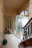 Foyer with vestibule in Art-Nouveau villa with antique ambiance