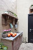 Rustikaler Vintage-Spültisch im Patio, dekoriert mit Kürbissen und Alpenveilchen im Blumenkasten