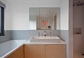 Zeitgenössisches Bad, Spiegelschrank über Waschtisch mit Unterschrank aus Holz und eingebaute Badewanne am Fenster
