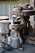 Rustic tree stump table