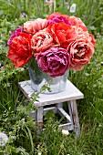 Bouquet of double tulips in bucket