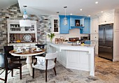 Kitchen with blue and white cabinets