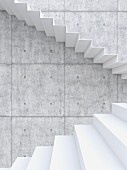Zigzag staircase against concrete wall