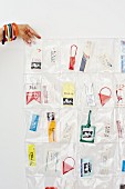 Holiday souvenirs sewn into plastic pouches