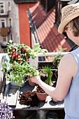 Frau pflanzt an Pflanztisch auf Dachterrasse