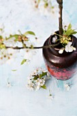 Branch of cherry blossom in fifties-style vase