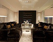 Modern living room with plush sofas in a contemporary home