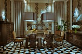 Antique chairs around table below pendant lamps in elegant interior; geometric tiled floor
