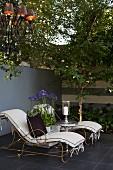 Agapanthusblüten zwischen Vintage Liegen vor Mauer auf Terrasse