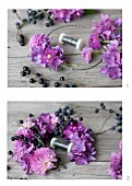 Tying a wreath of pompom dahlias, hydrangea florets and sloes