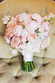 Bridal bouquet of pale pink roses & peonies