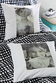 Cushions with iron-on transfers of childhood photos
